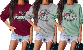 Women Motherhood Dinosaur Printed Crew Neck Sweatshirt Loose Long Sleeve T-shirt