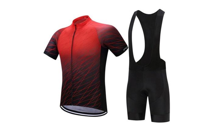 34872e90498 Men Short Sleeve Road Bicycle Cycling Jersey Shorts Padded Pants ...