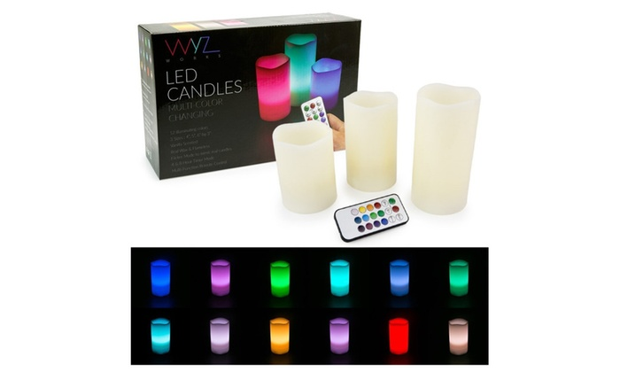 WYZworks LED Ivory Flickering Flameless Candles - Set of 3 (4 5 6)