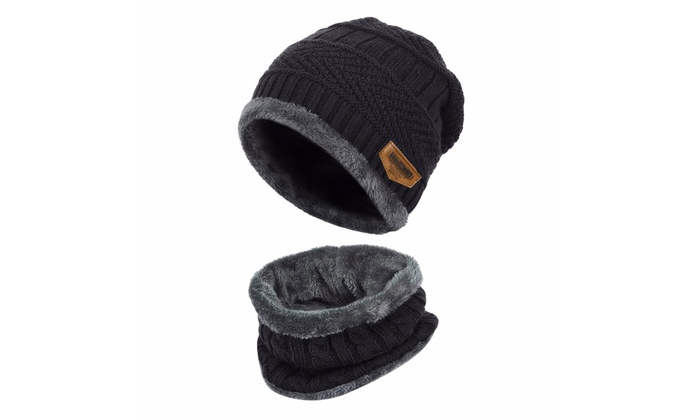 40c5f57a5f9d1f 2-Pieces Winter Beanie Hat Scarf Set Thick Warm Knit Skull Cap for Men Women