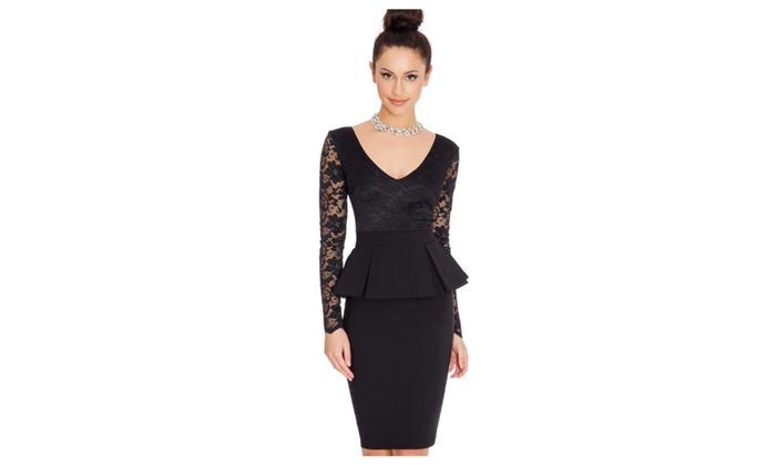 Women Lace Stitched Hip Tight Skirt Peplum Dress - TCWD459-TCWD458