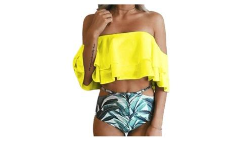 Lovely Double Flounced Printed Shorts Word Shoulder Women's Bikini c7f176e8-6513-40fd-8d2f-e59981b91c28