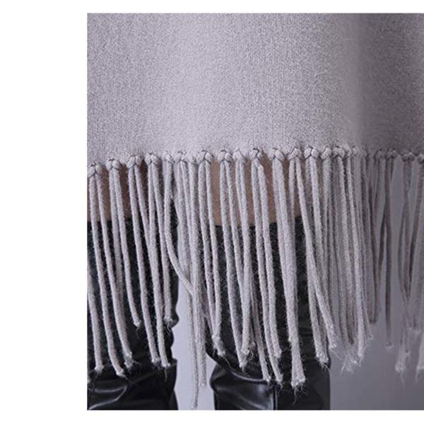 9d8665f37b785 QZUnique Women's Winter Pashimino Knitted Shawl Wrap Tassels Cardigan |  Groupon