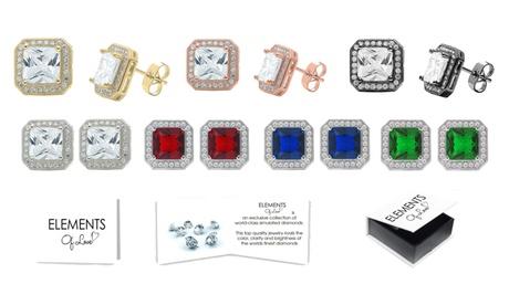 Swarovski Elements Princess Cut Halo Stud Earrings Collection 07f2c477-813f-4475-a8cf-d078bad8018f