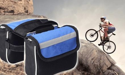Bolso para bicicletas con 2 bolsillos de almacenamiento y bolsa para smartphone accesible