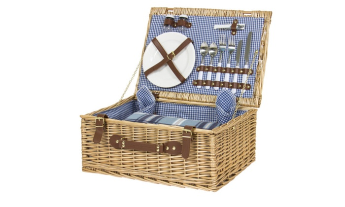 2 Person Picnic Basket Cutlery Plates Gles Tableware Blanket