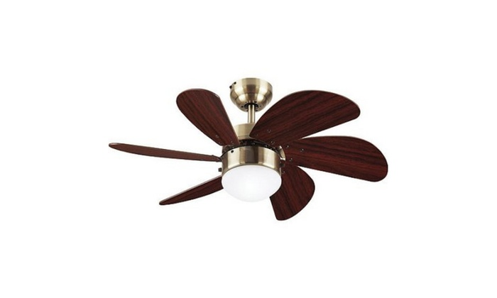 30'' Turbo Swirl Ceiling Fan/Lamp, Antique Brass