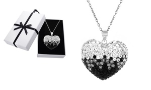 Black and White Sterling Silver Heart Necklace with Swarovski Crystals