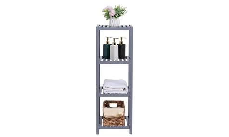 100% Bamboo Bathroom Shelf 4-Tier Multifunctional Storage Rack Shelving