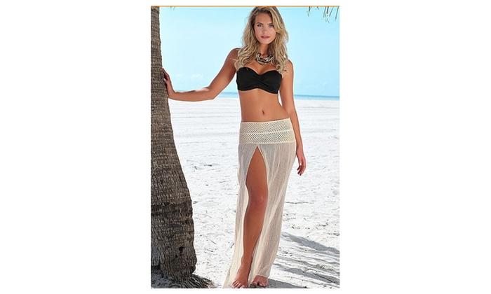 Women Long Elasticated Sheer Open Beachwear - KMWB815