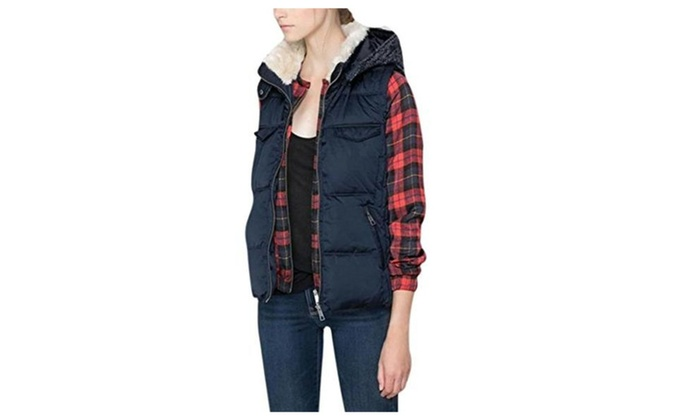 Lingswallow Women's Casual Padded Puffer Bodywarmer Quilted Hooded Vest