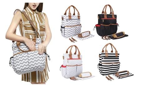 Large Striped Travel Backpack Diaper Tote Bag Purse Crossbody Bag (Goods Women's Fashion Accessories Handbags Cross-Body) photo