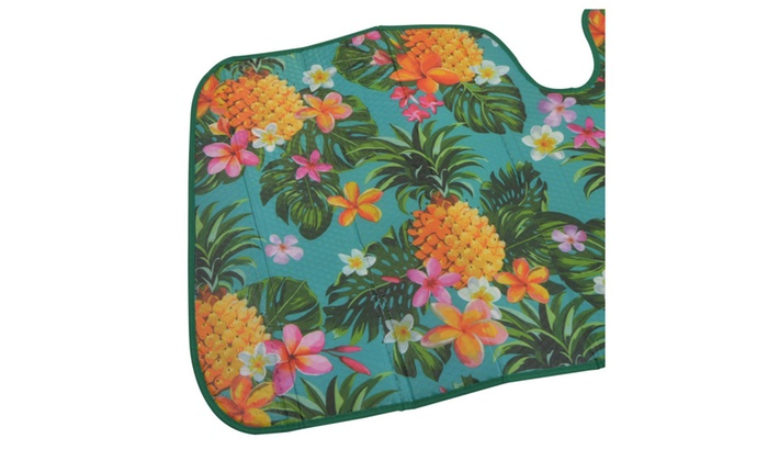 ... Tropical Pineapple Fruit Flower Reversible Windshield Car Sun Shade ... b43ad075bff