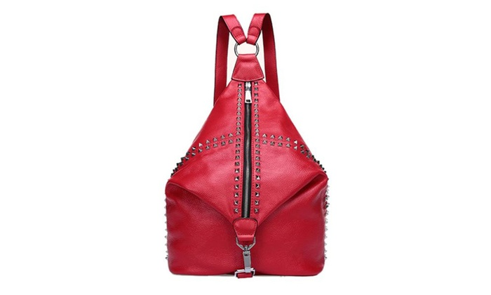 Women's Red Backpack Leather Rivet Punk Rockstar Daypack - Red / One Size