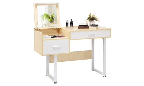 Costway Simplicity Fashion Square Mirror Makeup Dressing Table with Flip Top