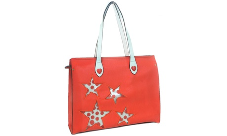 Stars Dots Hearts Handbag Purse Vegan Leather Tote Bag Carry-on (Goods Women's Fashion Accessories Handbags Totes) photo