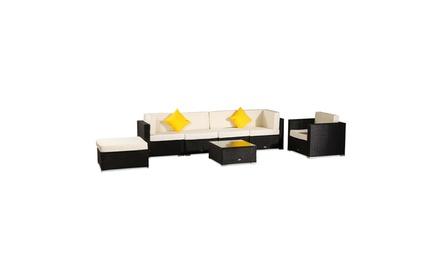 7 Pc Rattan Patio Furniture Set Garden Sofa with Yellow Cushions