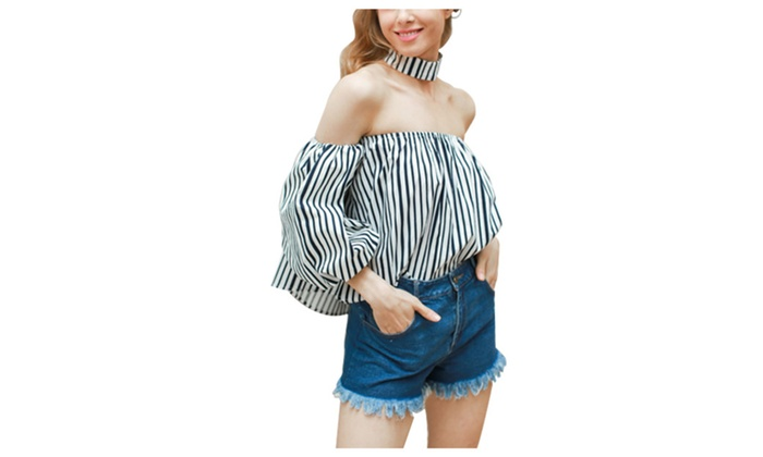 Women's Bishop Sleeve Off the Shoulder Striped Shirt Tops