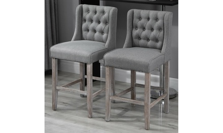 "40"" Tufted Counter Height Bar Stool Dining Chair Accent Furniture Set of 2 Gray"