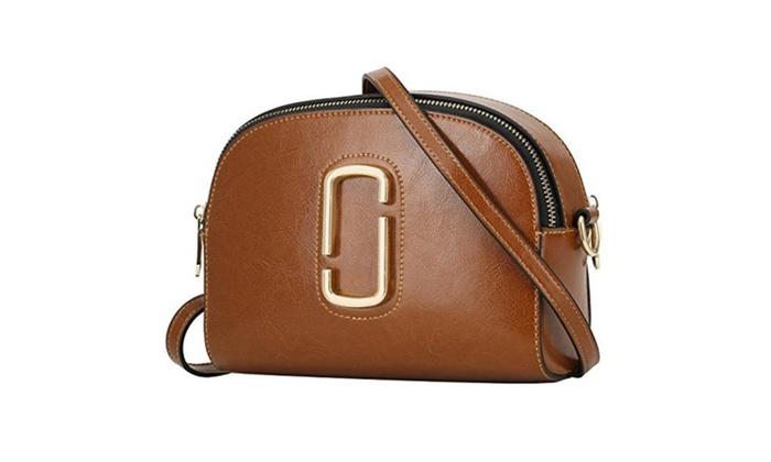 Women's Genuine Leather Small Double Zip Crossbody Single Shoulder Bag