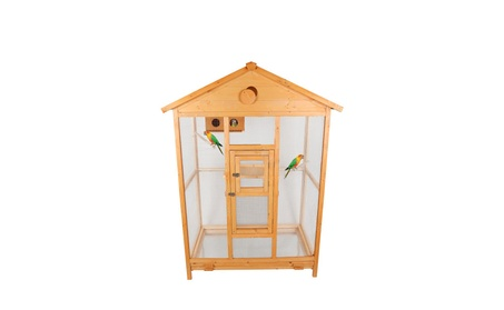 "69"" Deluxe House Shape Bird Cage with Hatch Room, Sand Trays, Perches 0d9cae74-2eaa-4020-aaac-60238d2e5d90"