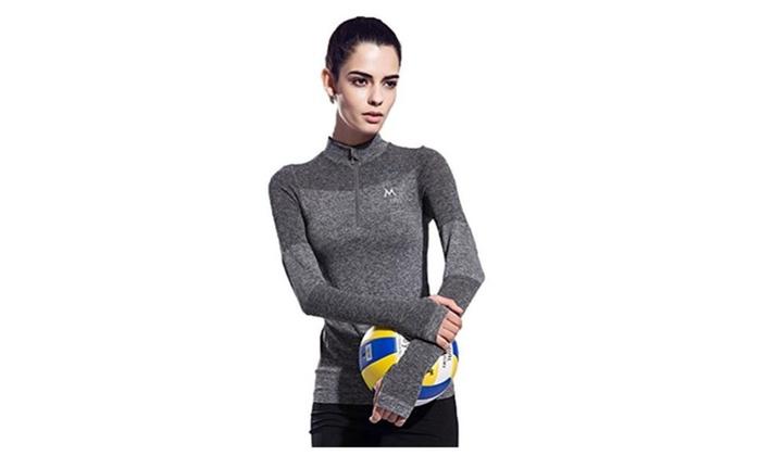 Zip Collar Sport Long Sleeve Shirt Running Fitness Quick Dry Athletic T-Shirts