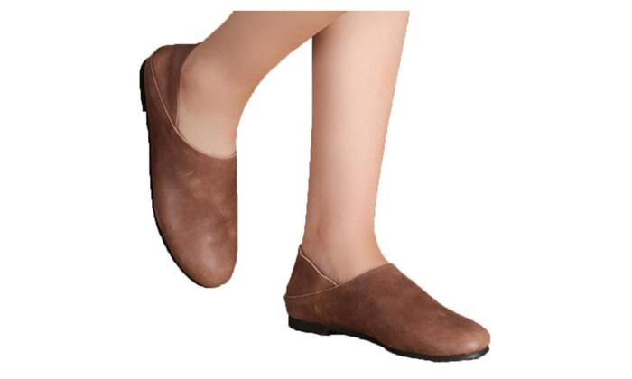 Men's Cattlehide Round Toe Flats Shoes