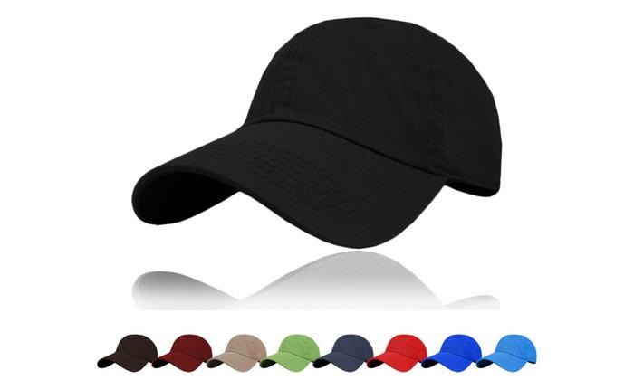 Solid 100% Cotton Baseball Cap - Plain Blank Low Crown Hats (9 Colors)