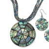 Genuine Abalone Silvertone Necklace and Earrings Set