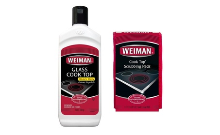 Weiman Glass Cooktop H/Duty Cleaner 10oz+Scrubbing Pads photo