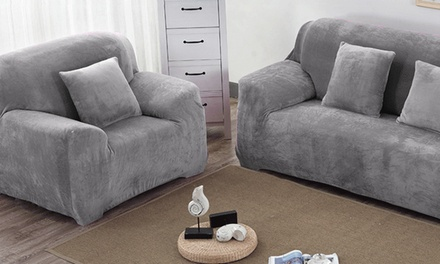 1-4 Seats Thick Velvet Plush Sofa Slipcover Stretch Couch Cover Protector