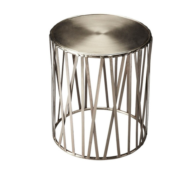 Butler Kruse Living Room Iron Drum Table - Silver