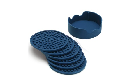 Enkore Drink Coasters Silicone Set of 6 (Navy) In Holder - Good Grip a4130fff-0ae2-420a-976d-8e5bcf76b5c6