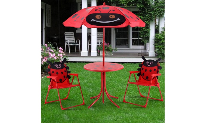 Admirable Kids Patio Set Table And 2 Folding Chairs W Umbrella Beetle Machost Co Dining Chair Design Ideas Machostcouk