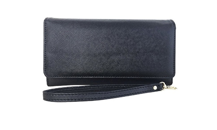 Womens RFID Blocking Classic Clutch Leather Wallet