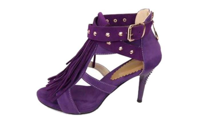 Women's Tassels and Rivets Heels Dress Sandal