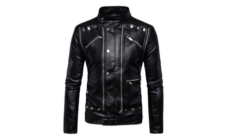 Men's Stand Collar Faux Leather Moto Jacket Slim Fit Casual 89bd48a1-c7c9-42fe-9084-ef7154281db6
