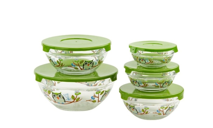 5 Pc Glass Bowls W Lids Owl Design Travel Food Containers Groupon