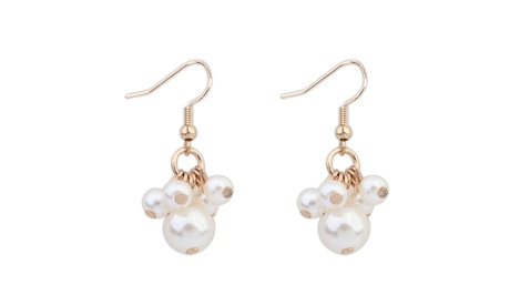 18k Yellow Gold Overlay Simulated Pearl Beaded Dangle Earrings - White