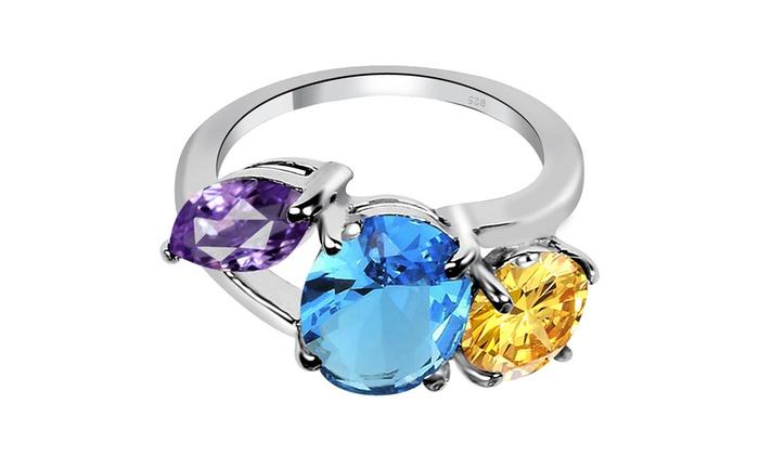Sterling Silver Rhodium 10x5 Marquise Gemstone /& Round Created White Sapphire Ring