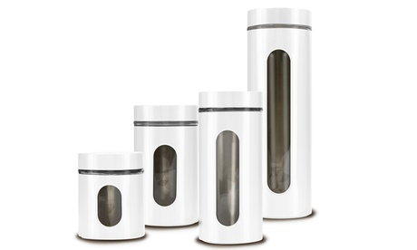 Stainless Steel Over Glass 4PC Canister, Food Storage Container Set