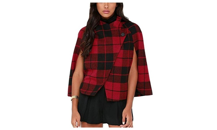 women u0026 39 s classic plaid cape poncho coat short red