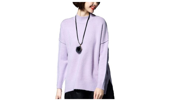 Women's Loose Fit Long Sleeve Simple Pullovers