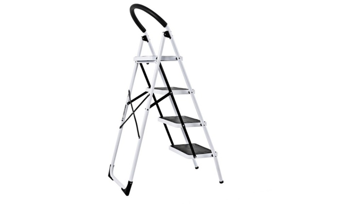 Amazing 4 Step Ladder Folding Stool Heavy Duty 330Lbs Capacity Industrial Lightweight Pabps2019 Chair Design Images Pabps2019Com
