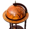 "36"" Wine Bar Bottle Stand Wood Globe 16th Century Italian Liquor Rack"