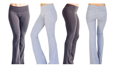 Popular Basics Women's Cotton Yoga Pants With Fold Down Waist 6cc4bf36-26ab-4e7e-a428-09d361118027