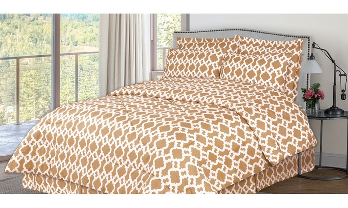 White Geometric Pattern Bed In A Bag