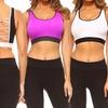 Style Clad Women's Two-Tone Cutout Interwoven Sports Bra