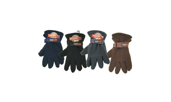 Assorted 3 Pc Polar Fleece Solid Color Gloves for Men's / Boy's
