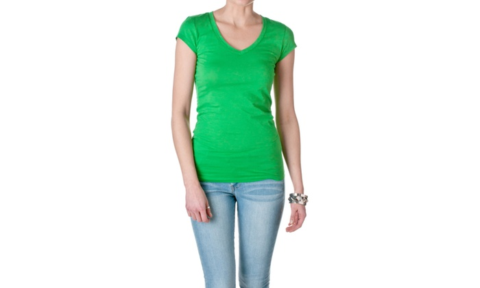 Active Basic Womens Short Sleeve V-Neck Tee 8750-3